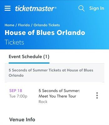 2 5 Seconds Of Summer Concert Tickets House Of Blues Sept 18 Orlando Fl