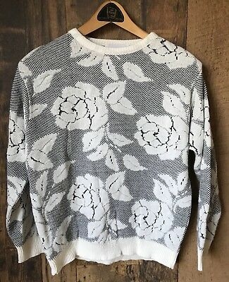 Vintage 1980s Womens Sweater Pullover Rose Motif Medium Size M Jumper Canada