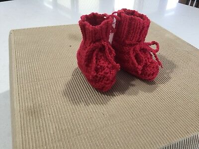Cotton, Baby Bootees, Hand Knitted, To Fit From Birth To 3 Months, New,red (M24)