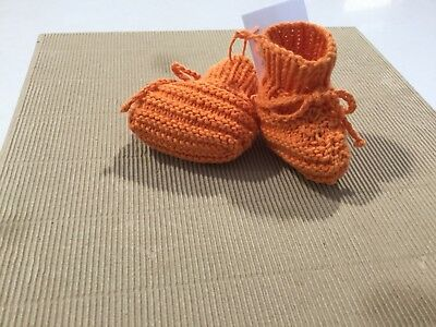 Cotton, Baby Bootees, Hand Knitted, To Fit From Birth To 3 Months, Orange, (M26)