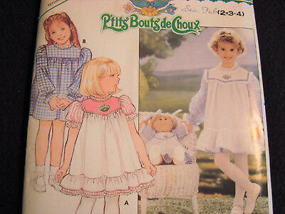 Vintage 1985 Cabbage Patch Kids Dress Butterick 3086 With Iron On ~ Size 2 3 4