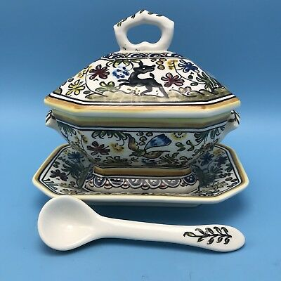 Portuguese Ceramic Hand Painted Covered Tureen W/ Ladle & Underplate Portugal