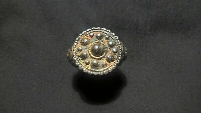 Byzantine/ Roman Silver and Gold gilded Crown Ring IX Century AD; Rare