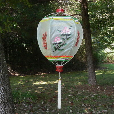 Vtg Chinese Hanging Lantern Hand Painted Gauze Wire Frame Tassel As Is For Parts