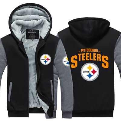 JXC Mens Thicken Hoodie Pittsburgh Steelers Fan Sweatshirt Coat Zipper Jacket