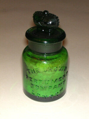 LOVELY DEEP GREEN ANTIQUE PERFUME BOTTLE by CROWN PERFUMERY, LONDON Must See!