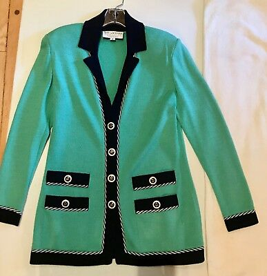 ST. JOHN COLLECTION by Marie Gray Knit Green & Navy Blue Longer Jacket Sz 2