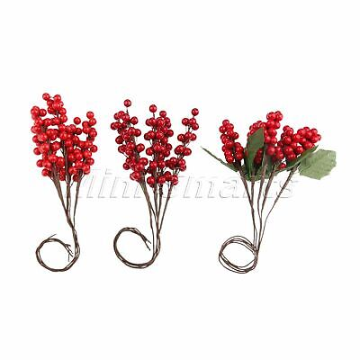 5x Decoration Artificial Berries Branch Mini Fruits Berry Stamen Green Leaves