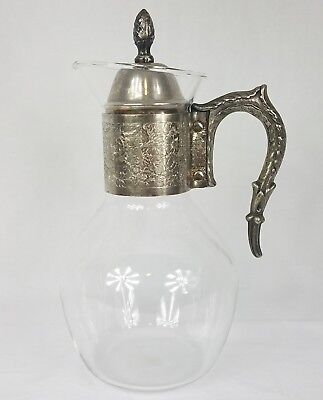 Vintage Glass Pitcher w/ Metal Handle and Flower Scroll Pattern Decanter