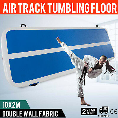 Air Track Blue Tumbling Mat Inflatable Floor Home Gymnastics GYM + Pump