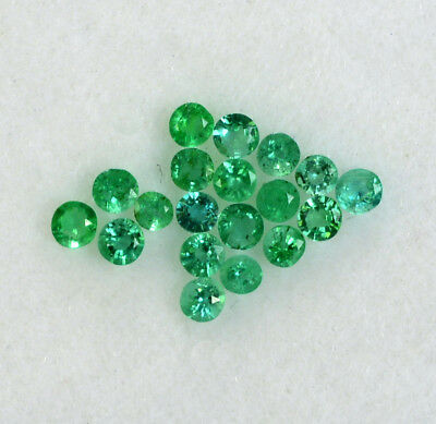 Natural Emerald Round Cut 1.75 mm Lot 20 Pcs 0.54 Cts Untreated Loose Gemstones