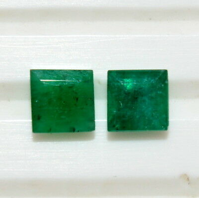 Certified Natural Emerald Square Cut Pair 4.20 mm 0.90 Cts Green Loose Gemstones