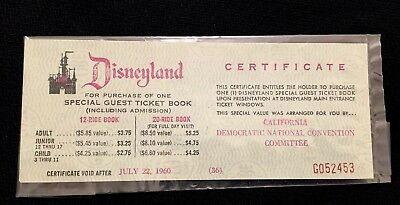 Disneyland Rare 1960 Ticket For Democratic Kennedy Nomination