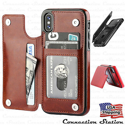 Apple iPhone XS MAX XR Leather Wallet Back Magnetic Flip Cover Thin Slim Case