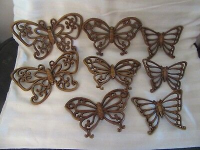 8 Syroco Homco Brown Wicker look Butterflies 3 sizes