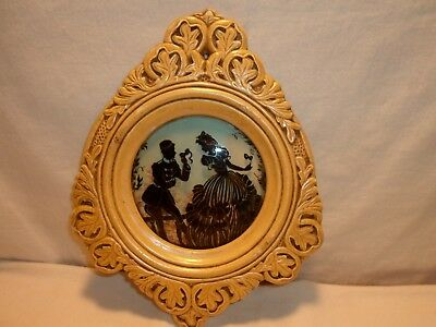 Antique Chalk Frame with Reverse Silhouette Painting Convex Glass
