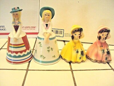 Vintage Lady/Girl Bell Lot of 4 - 2 Schmid and 2 Josef - Very Good Condition