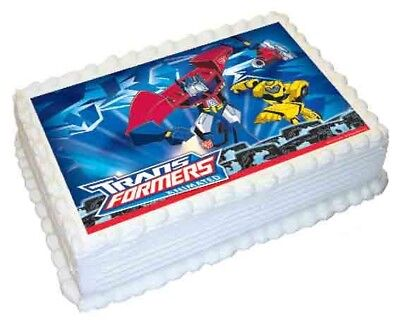 Transformers A4 Edible Icing Image Cake Topper Optimus Prime Bumblebee