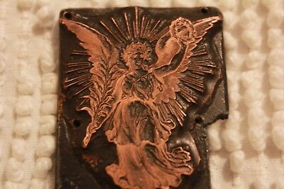 Antique Copper Printing Plate Letterpress Angel of Grief Holding Fern Memorial