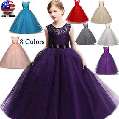 Kids Girls Lace Flower Bridesmaid Maxi Long Dress Party Princess Prom WeddingTOP