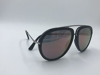 38120cbe9bd1 Tom Ford Stacy TF452 01Z Sunglasses Black  Silver Frame Gold Mirror Lenses  57mm