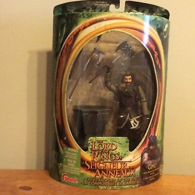 Lord of the Rings Gimli with Battle Axe Swinging Action English-French Packaging
