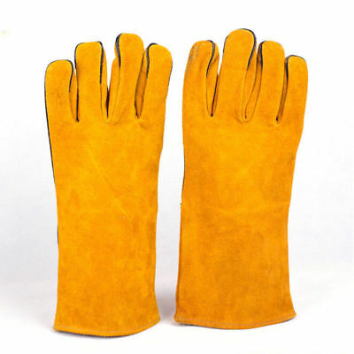 Welding Leather Gloves Protective Gauntlets Welders Heat Resistant Stitches Uk