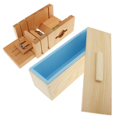 DIY Handmade Soap Tools Set Silicone Loaf Soap Mold + Wooden Loaf Cutter Box