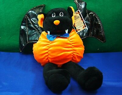 """Halloween 16"""" Vampire Bat with a Pumpkin Body Plush Stuffed Toy New with Tag"""