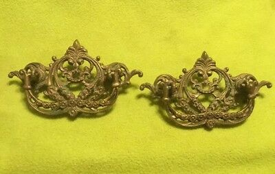 Antique ~ Solid Brass ~ Dresser Drawer Pulls ~ Victorian ~ Lot Of 2