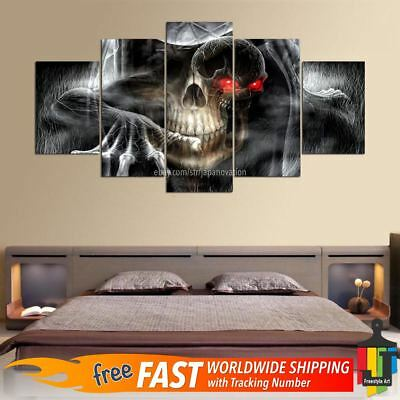 5 Pieces Halloween Horror Cool Skull Abstract Canvas Wall Art Poster Home Decor