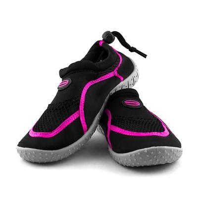 Kids Adjustable Aqua Shoes in Black and Pink from Mirage Watersports