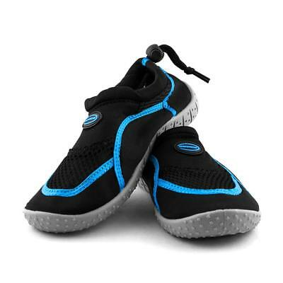 Kids Adjustable Aqua Shoes in Black and Blue from Mirage Watersports