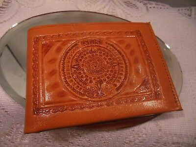 Gaitan Tooled Genuine Leather Wallet-Made In Mexico-Fits Cash, Change, & Cards