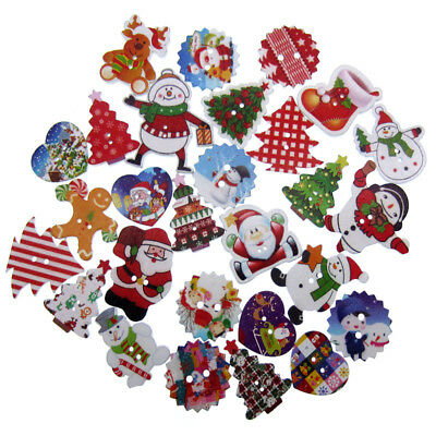 Colorful 2 hole wooden buttons christmas button for crafts clothing sewing Decor