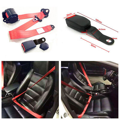 Red Iron Plate Style 3 Point Retractable Car Seat Safety Belts W/Release Camlock