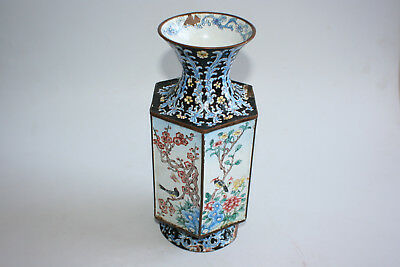 Chinese Bronze Cloisonne Painted Hexagon Vase