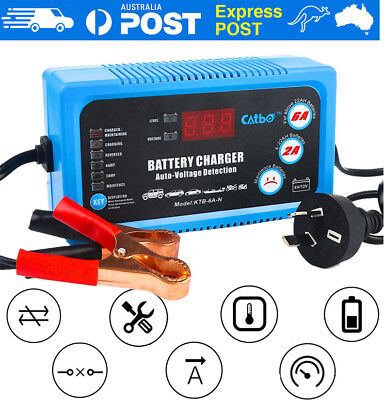6/12V Smart AGM GEL WET Battery Auto Charger Maintainer for Car Boat Motorcycle