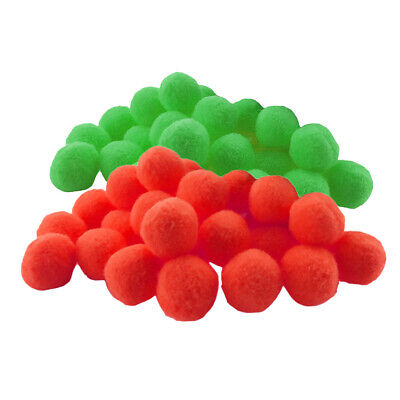 200x Fluffy Small Craft Pompoms Crafts Decorations Red and Green
