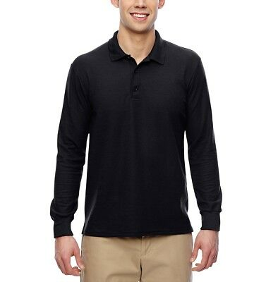 Mens DryBlend Polo Double Pique Moisture wicking Long Sleeve Sport Shirt S - 3XL