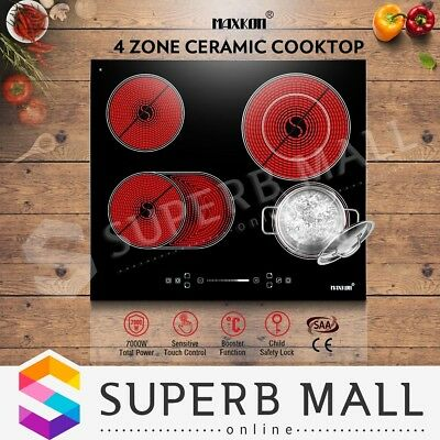 Electric Ceramic Cooktop 6600W 4 Zone Glass Touch Control Timer & Child Lock BK
