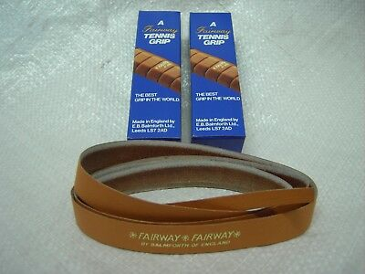 2 Tan Fairway double-handed leather tennis grips