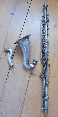 METAL BASS CLARINET  by PEDLER -Vintage & RARE - silver plated