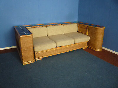 Very rare Art Deco Rattan Bamboo Sofa Daybed by Arco Germany 1940s