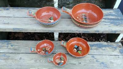 5 Vintage Tlaquepaque Hand Painted Mexican Pottery Handled Serving Nesting Bowls