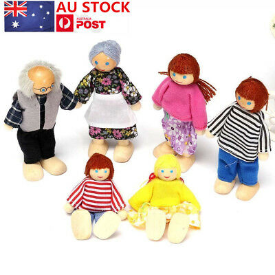 Wooden Furniture Dolls House Family Miniature 6 People Doll Toy For Kid Child AU