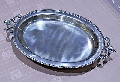 Silver Plated Oval Tray Ornate Floral Handles and Legs