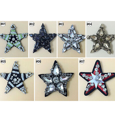 1PC Mixed Star Handmade Beads Crystal Sew on Patches Applique Trim