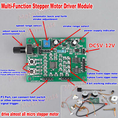 DC5V-12V 2-phase/4-phase 5-wire Mini Stepper Motor Driver Board Speed Controller