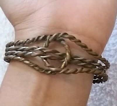 EXTREMELY ANCIENT  VIKING BRONZE TWISTED  BRACELET museum artifact  Stunning